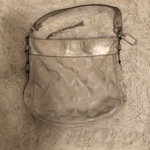 White and Silver Coach Purse